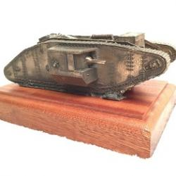 WW1 British MKIV Male Tank on solid wood base